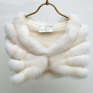 J Mendel white fur crop jacket