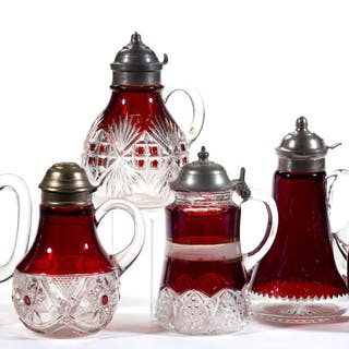 ASSORTED EAPG - RUBY-STAINED SYRUP PITCHERS, LOT OF SIX