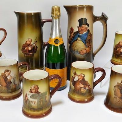 8 Belleek Catholic Monk Pitcher Tankard Mug Group