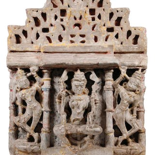 ANCIENT GANDAHARAN ARCHITECTURAL FRAGMENT OF AN INDIAN TEMPLE