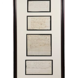 FOUR EARLY 19TH C. NEWBURYPORT, MASS. FIRE COMPANY DOCUMENTS IN ONE FRAME