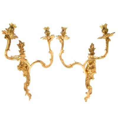 Pair Chinoiserie Gilt Bronze Sconces