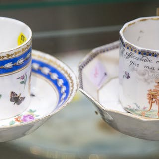 Two Continental Cups and Saucers