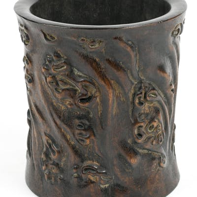 Chinese Trunk Form Wood Brush Pot