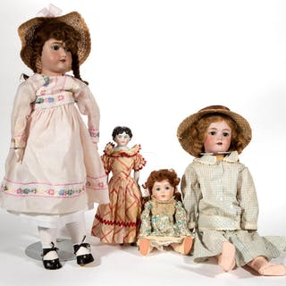 ASSORTED GERMAN BISQUE-HEAD AND CHINA DOLLS, LOT OF THREE