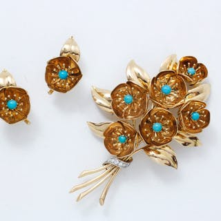 Brooch and earrings set