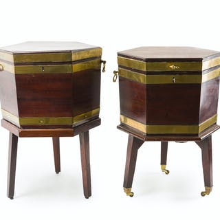 A near pair of English mahogany cellarettes