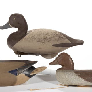 FOLK ART CARVED AND PAINTED DUCK DECOYS, LOT OF TWO