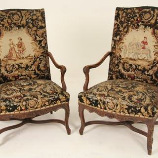 PR. OF LOUIS XV STYLE NEEDLEPOINT FAUTEUILS