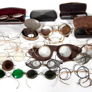 ASSORTED ANTIQUE / VINTAGE EYE GLASSES / SPECTACLES, LOT OF 21