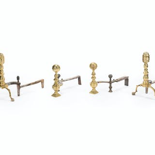 Two sets of andirons