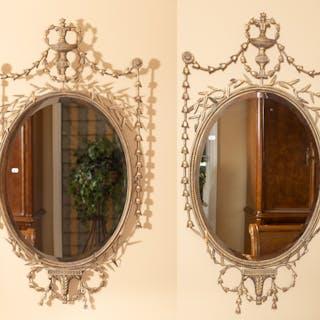 Pair of Georgan Style Gilt-Metal Mirrors