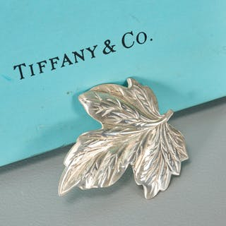 Tiffany & Co. sterling leaf form brooch