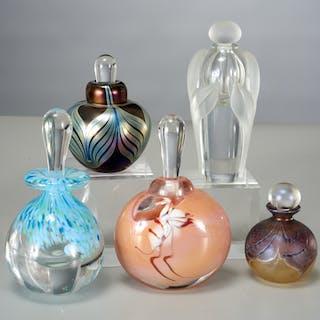 Group of studio art glass perfume bottles