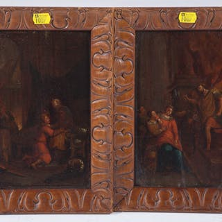 Pair of Dutch Old Master oils on panel, 18th centu