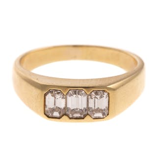 dbb137727 A 3 Stone Emerald Cut Diamond Ring in 18K