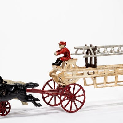 CAST-IRON HORSE-DRAWN FIRE LADDER TRUCK TOY