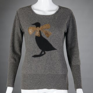 Sonia Rykiel gray cashmere embellished sweater