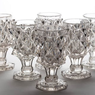 GIANT SAWTOOTH GOBLETS, LOT OF SIX