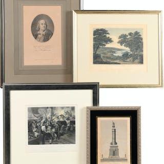 (4) American historical etchings