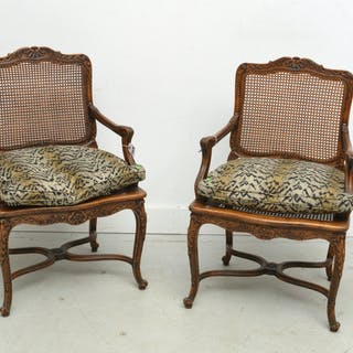 Pair Regence style caned fauteuils