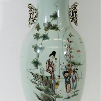 19C Chinese Famille Rose Poem Porcelain Vase