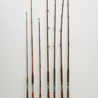 (7) Vintage saltwater bamboo fishing rods