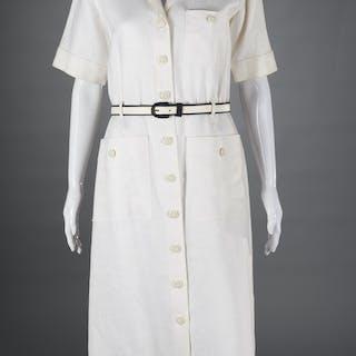 Vintage Yves Saint Laurent white linen dress