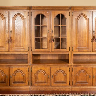 Oak & Glass Paneled Three-Piece Wall Unit