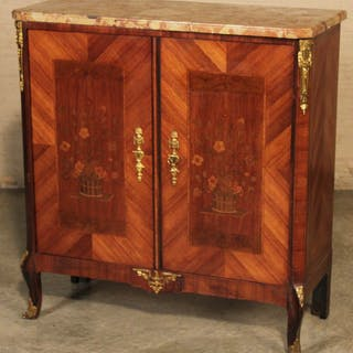 LOUIS XV STYLE M/TOP AND MARQUETRY CABINET