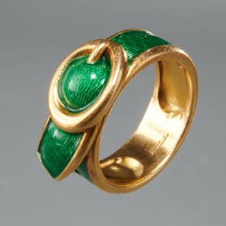 Cartier style 18k gold and enamel belt ring
