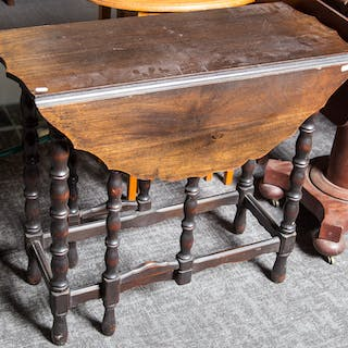 William & Mary Revival Walnut Gate Leg Table