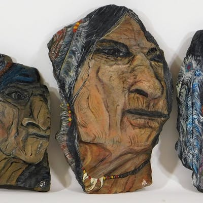3PC Native American Slate Stone Portrait Paintings
