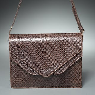 Fendi Italy embossed leather handbag