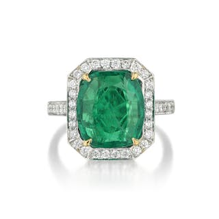 A Cushion-Shaped Emerald and Diamond Ring