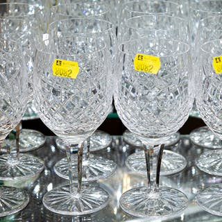 Twelve Waterford Style Cut Crystal Goblets