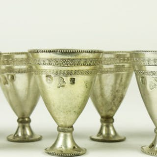 (lot of 10) Turkish .800 silver cups 11.4 toz
