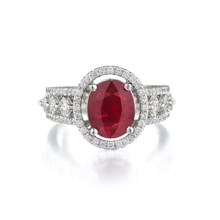 A 3.04-Carat Unheated Ruby and Diamond Ring