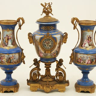 "IMPRESSIVE FRENCH SEVRES CLOCK SET; 31.5""H"