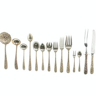 """An S. Kirk & Son """"Repousse"""" sterling silver flatware service"""