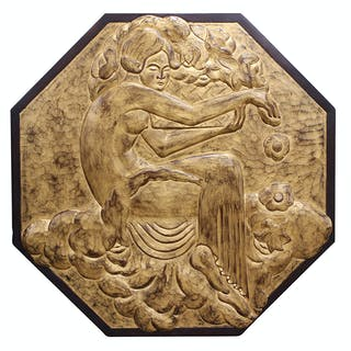 Art Deco style bas relief carved wood wall panel – Current sales ...