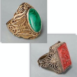 (2) vintage Chinese adjustable rings