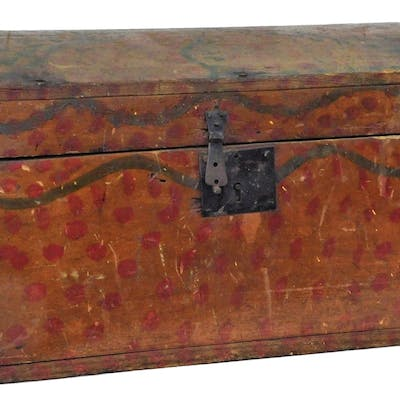 19C American Primitive Folk Art Dowry Marriage Box
