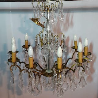FRENCH 10 LIGHT CRYSTAL AND BRONZE CHANDELIER