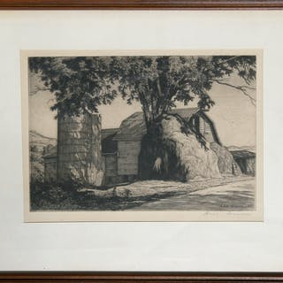 Luigi Lucioni, The Big Haystack, Etching - Luigi Lucioni