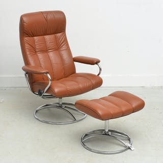 Ekorness Stressless leather chair & ottoman