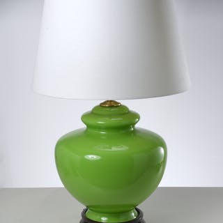 Large Modernist green glass table lamp