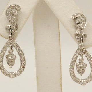 PR. OF 18K WHITE GOLD DIAMOND EARRINGS