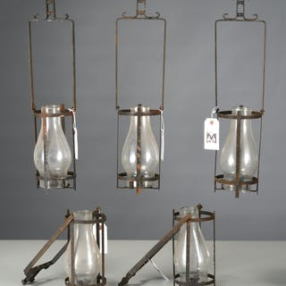 (5) Arts & Crafts style hurricane lanterns