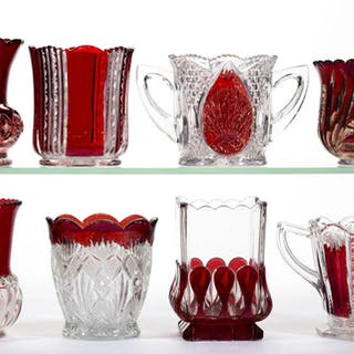 ASSORTED EAPG - RUBY-STAINED SPOONERS, LOT OF EIGHT